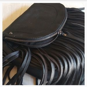 Aldo Black Very Leather Like Fringed Crossbody